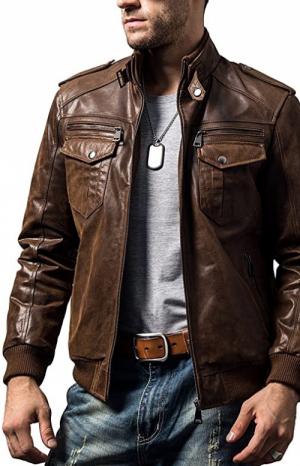 chaqueta cuero marron