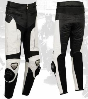 pantalon negro y blanco cuero